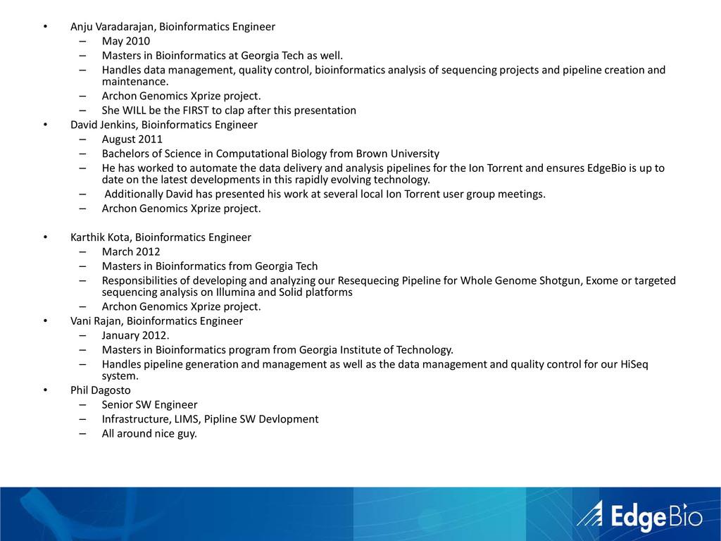 • Anju Varadarajan, Bioinformatics Engineer – M...
