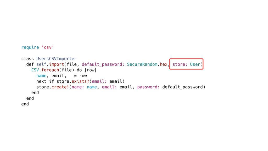 require 'csv' class UsersCSVImporter def self.i...