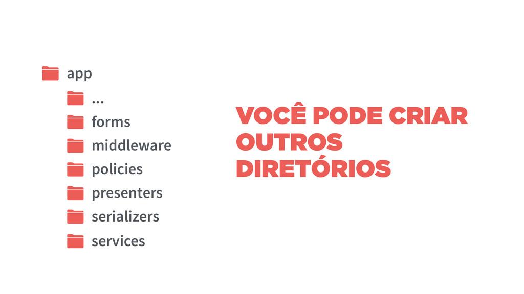 VOCÊ PODE CRIAR OUTROS DIRETÓRIOS app ... middl...