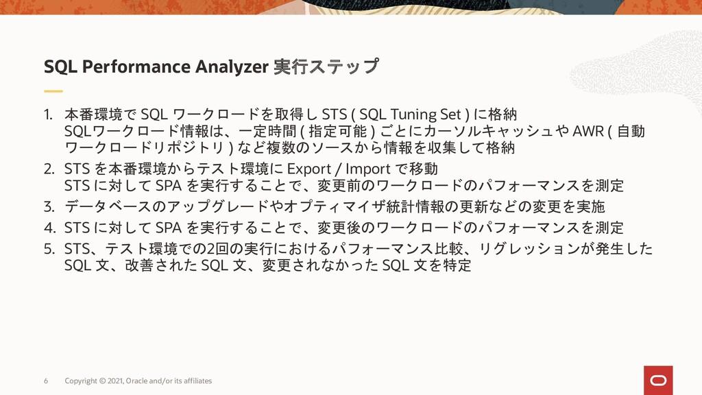 6 1. 本番環境で SQL ワークロードを取得し STS ( SQL Tuning Set ...