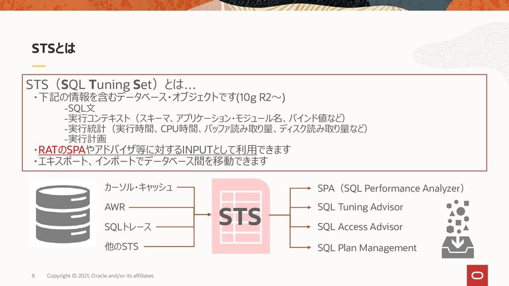 STSとは STS(SQL Tuning Set)とは… ・下記の情報を含むデータベース・オブ...