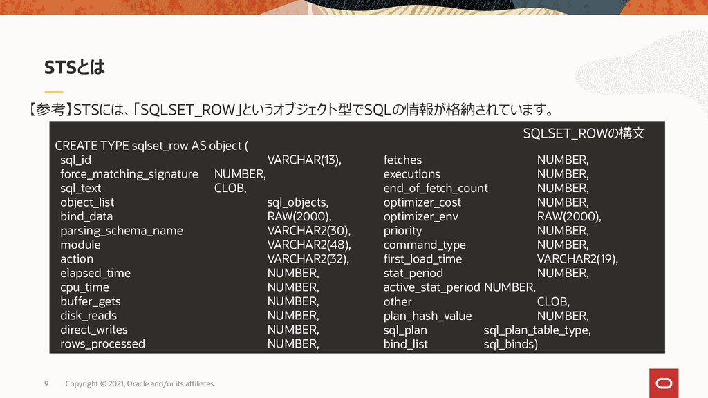 CREATE TYPE sqlset_row AS object ( sql_id VARCH...