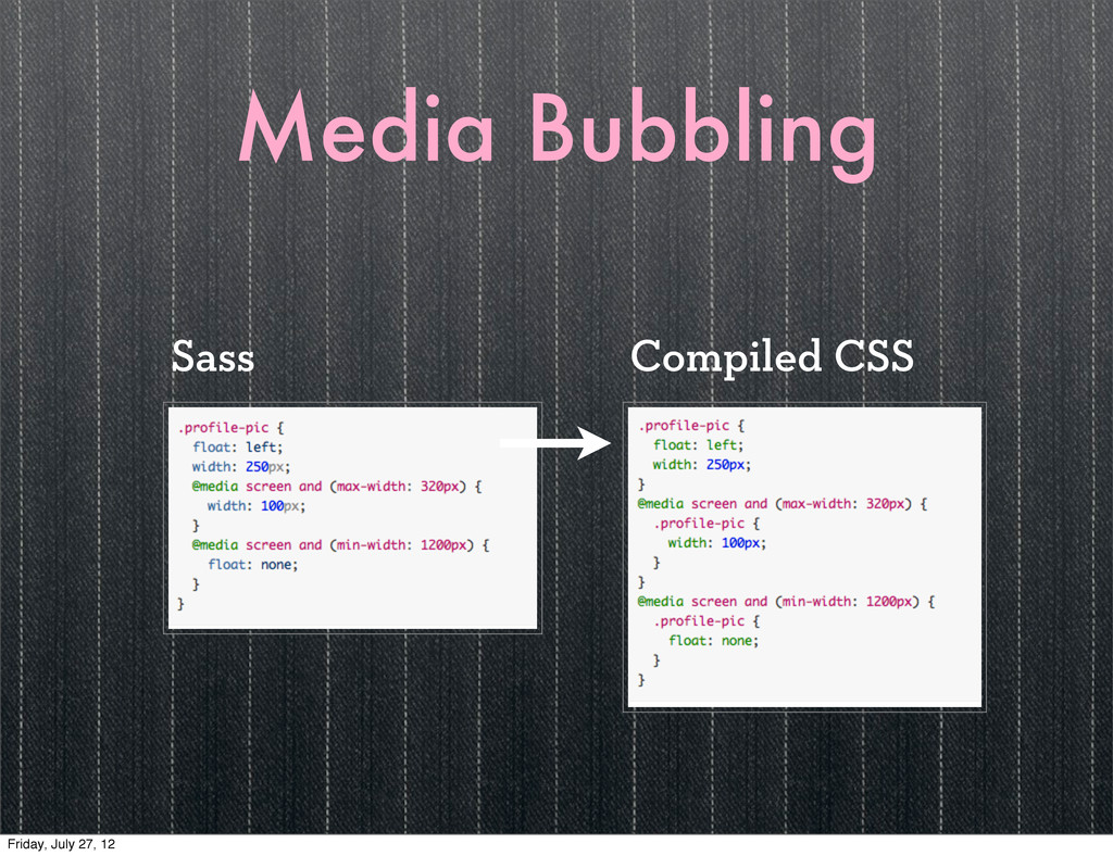 Media Bubbling Compiled CSS Sass Friday, July 2...