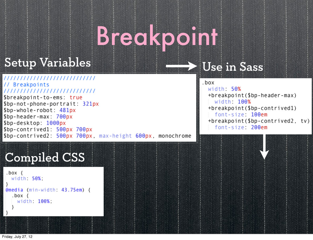 Breakpoint Use in Sass Compiled CSS Setup Varia...