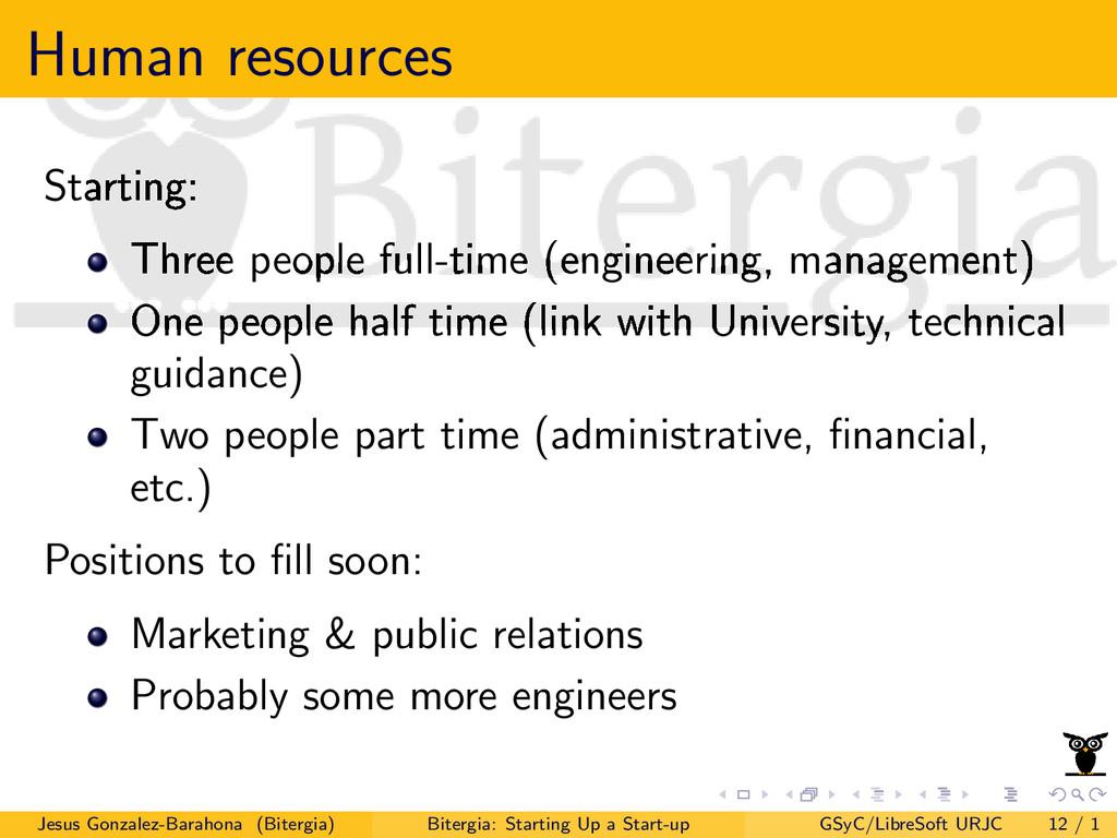 Human resources Starting: Three people full-tim...