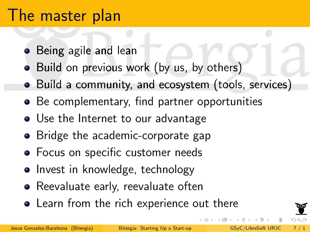 The master plan Being agile and lean Build on p...