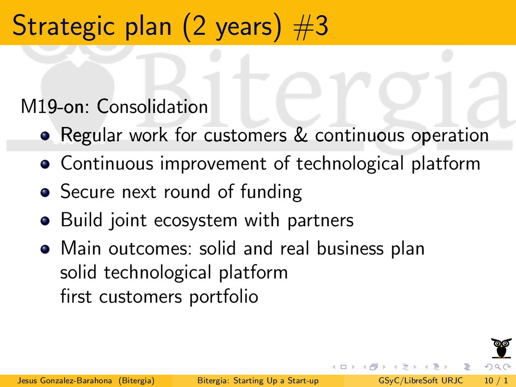 Strategic plan (2 years) #3 M19-on: Consolidati...