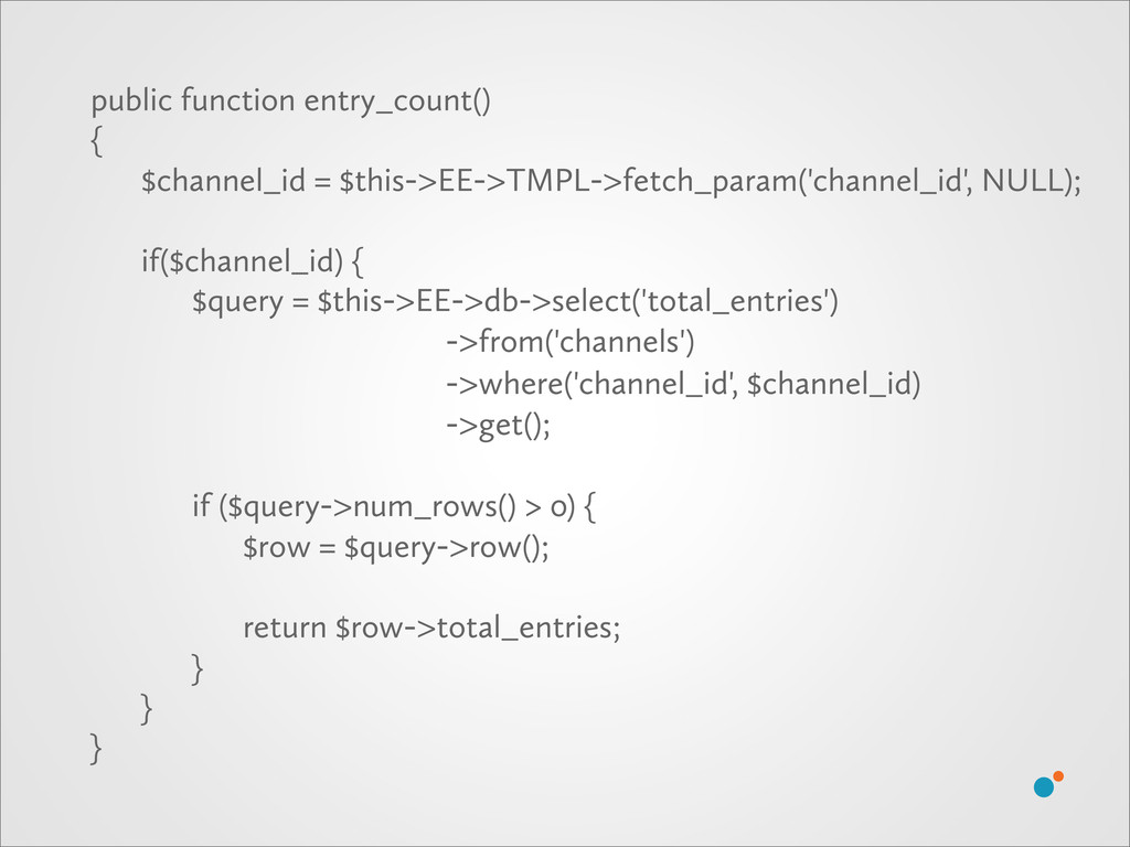 public function entry_count() { $channel_id = $...