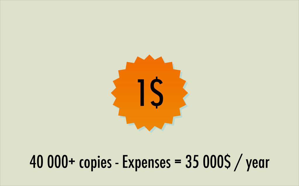 1$ 40 000+ copies - Expenses = 35 000$ / year