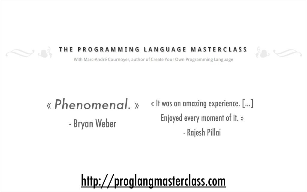 http://proglangmasterclass.com « Phenomenal. » ...