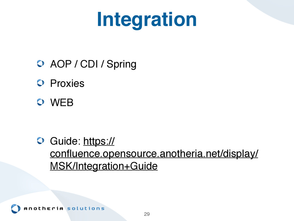 Integration AOP / CDI / Spring! Proxies! WEB! !...