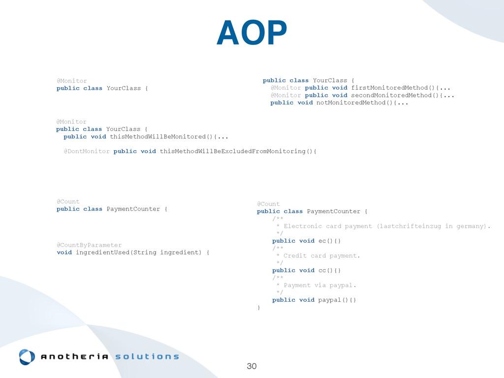 AOP 30 @Monitor public class YourClass { public...