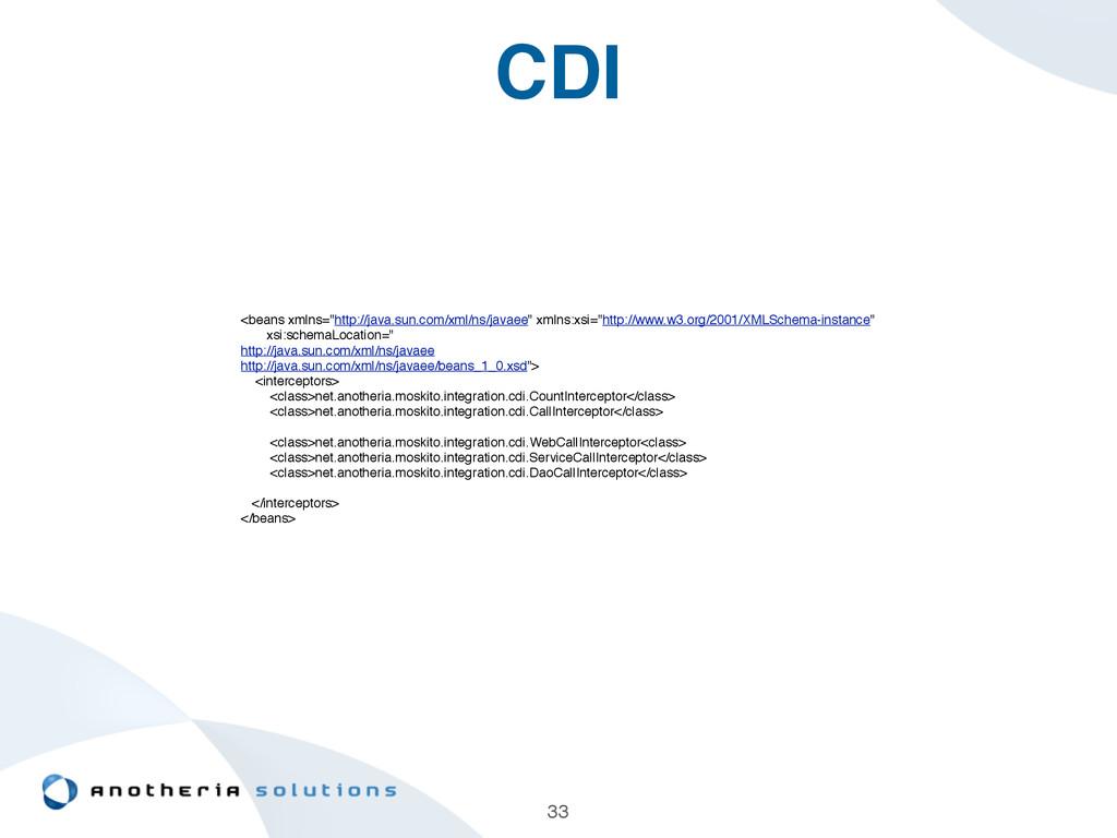 "CDI 33 <beans xmlns=""http://java.sun.com/xml/ns..."