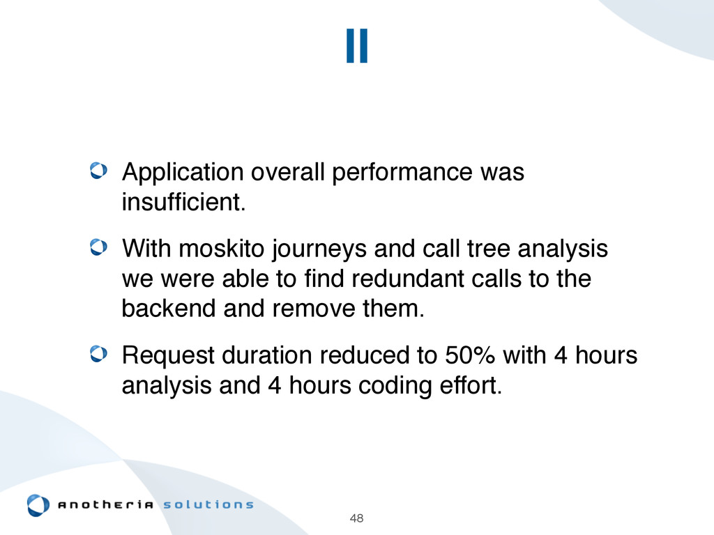 II Application overall performance was insuffici...