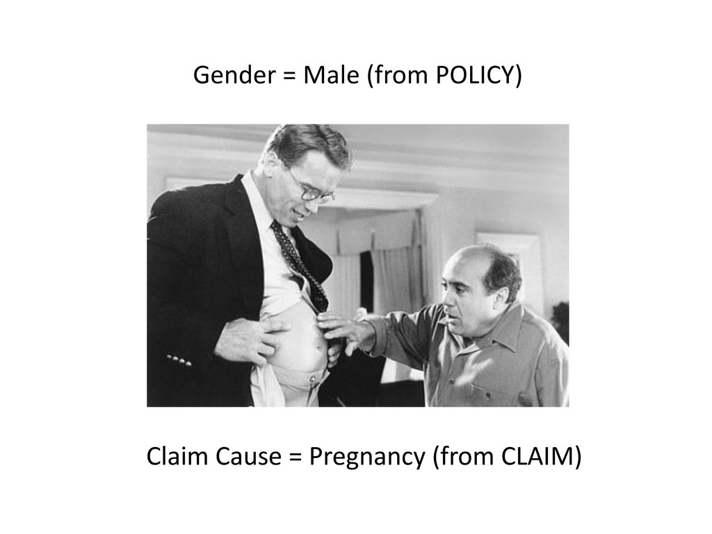 Gender = Male (from POLICY) Claim Cause = Pregn...