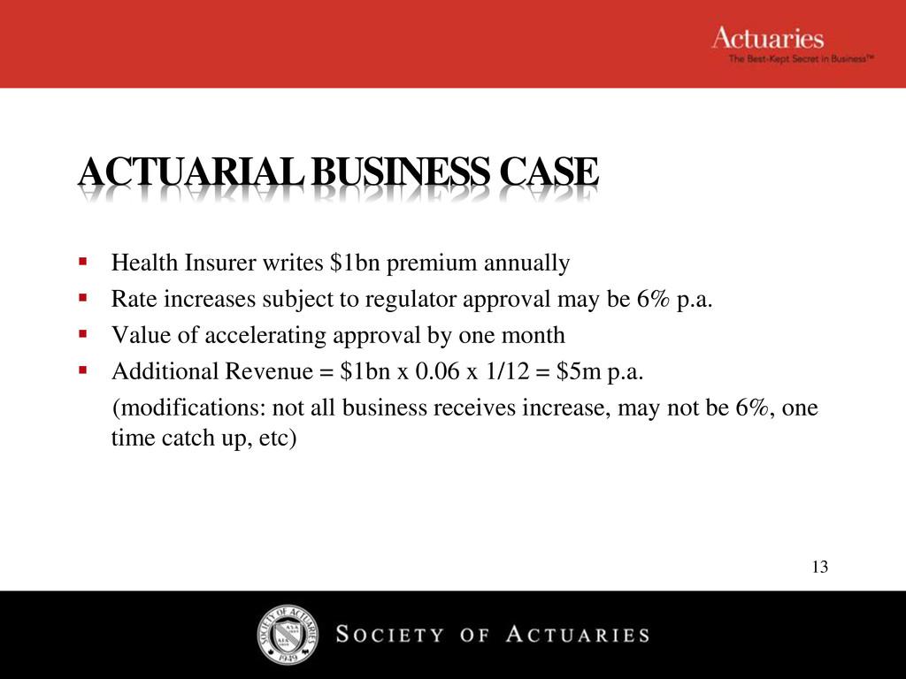 ACTUARIAL BUSINESS CASE  Health Insurer writes...