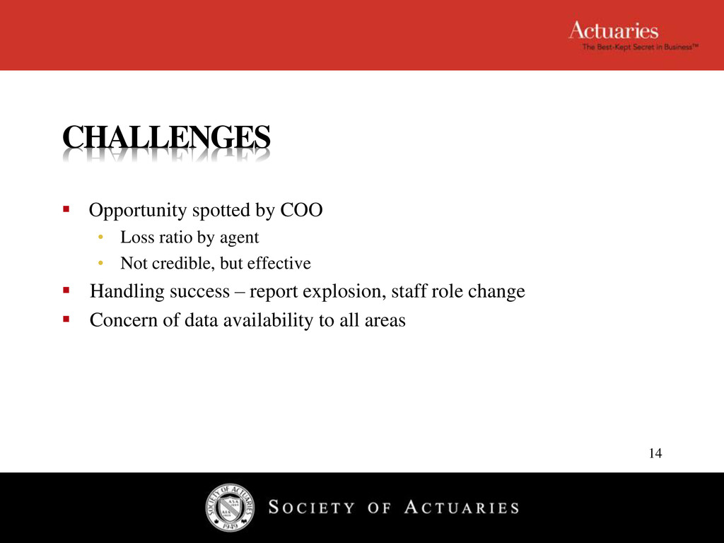 CHALLENGES  Opportunity spotted by COO • Loss ...