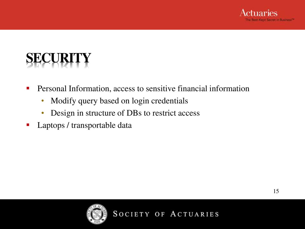 SECURITY  Personal Information, access to sens...