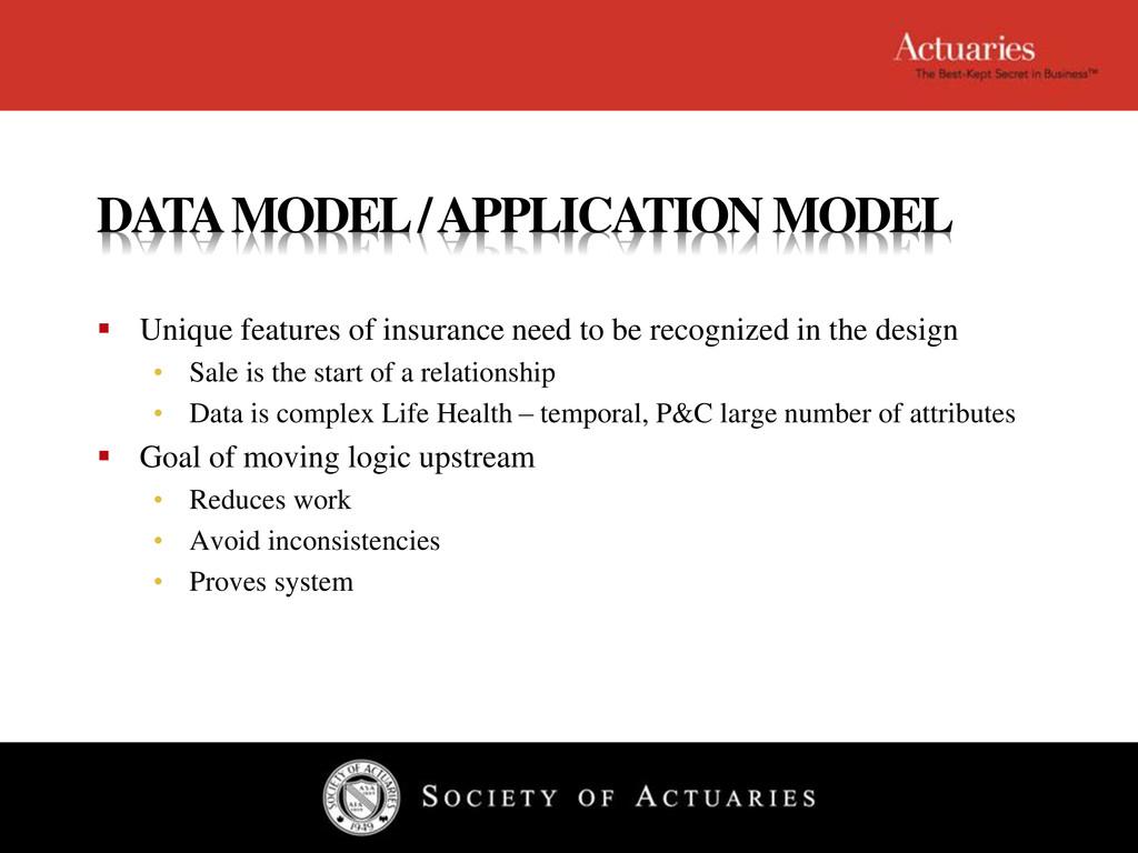 DATA MODEL / APPLICATION MODEL  Unique feature...
