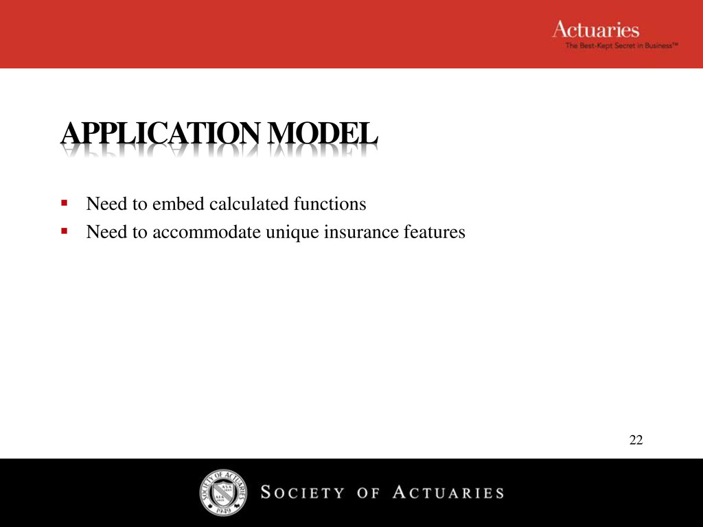 APPLICATION MODEL  Need to embed calculated fu...