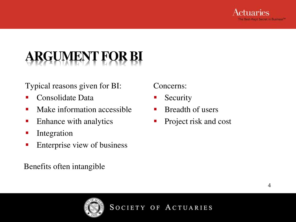 ARGUMENT FOR BI Typical reasons given for BI: ...