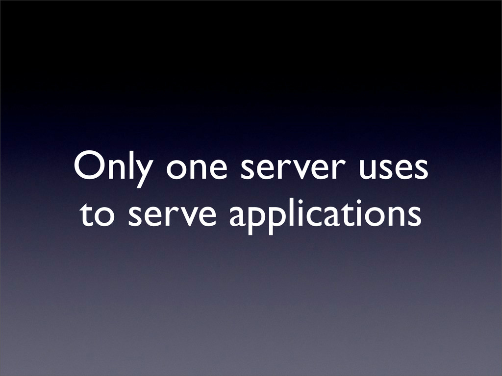 Only one server uses to serve applications