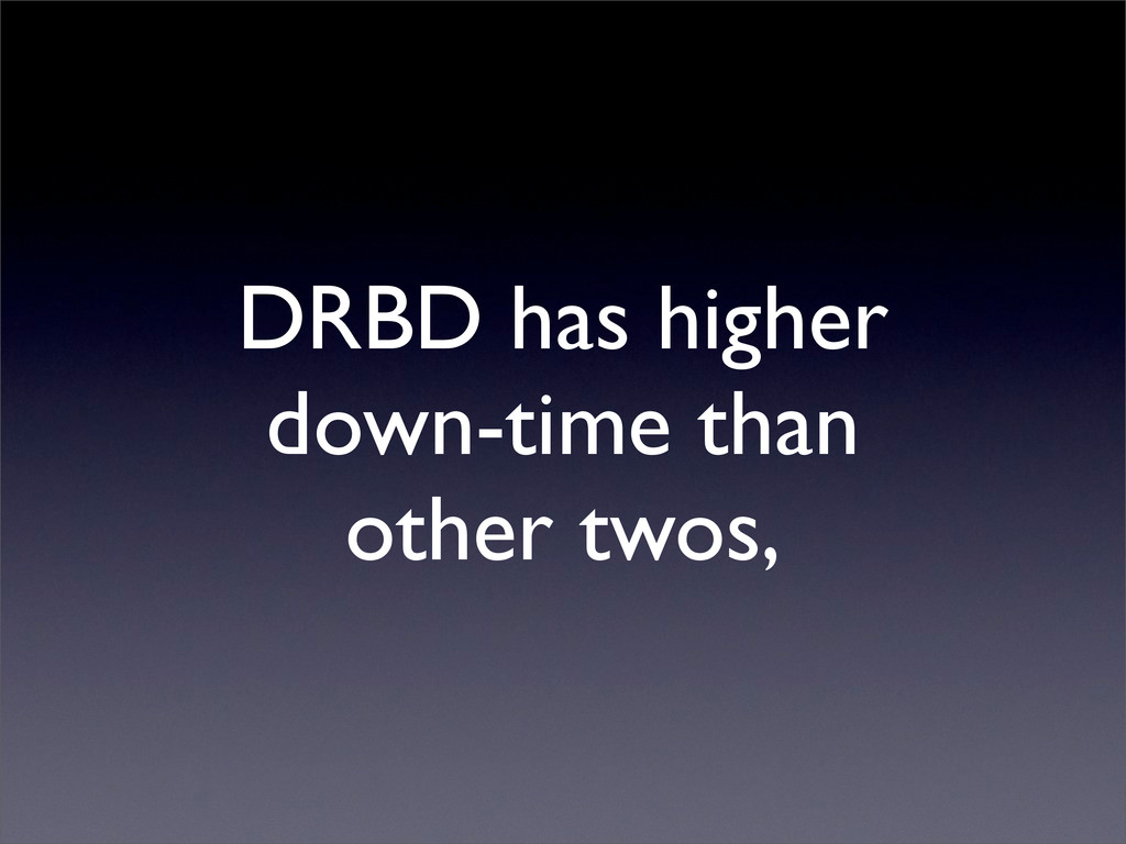 DRBD has higher down-time than other twos,