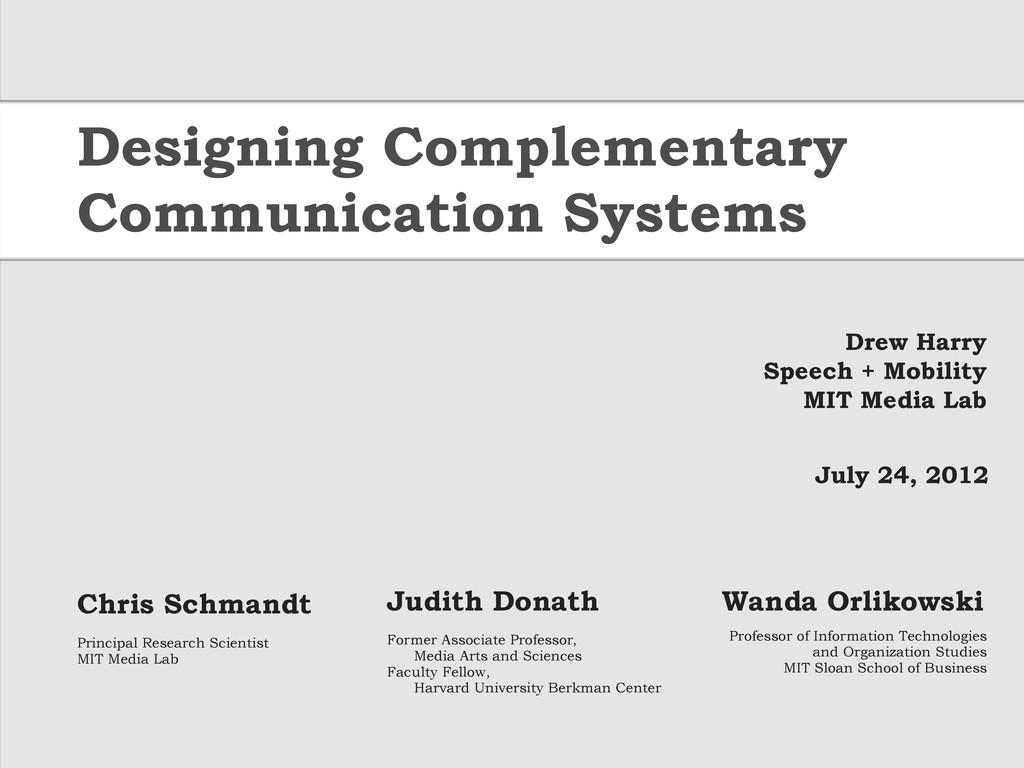 Drew Harry Speech + Mobility MIT Media Lab July...