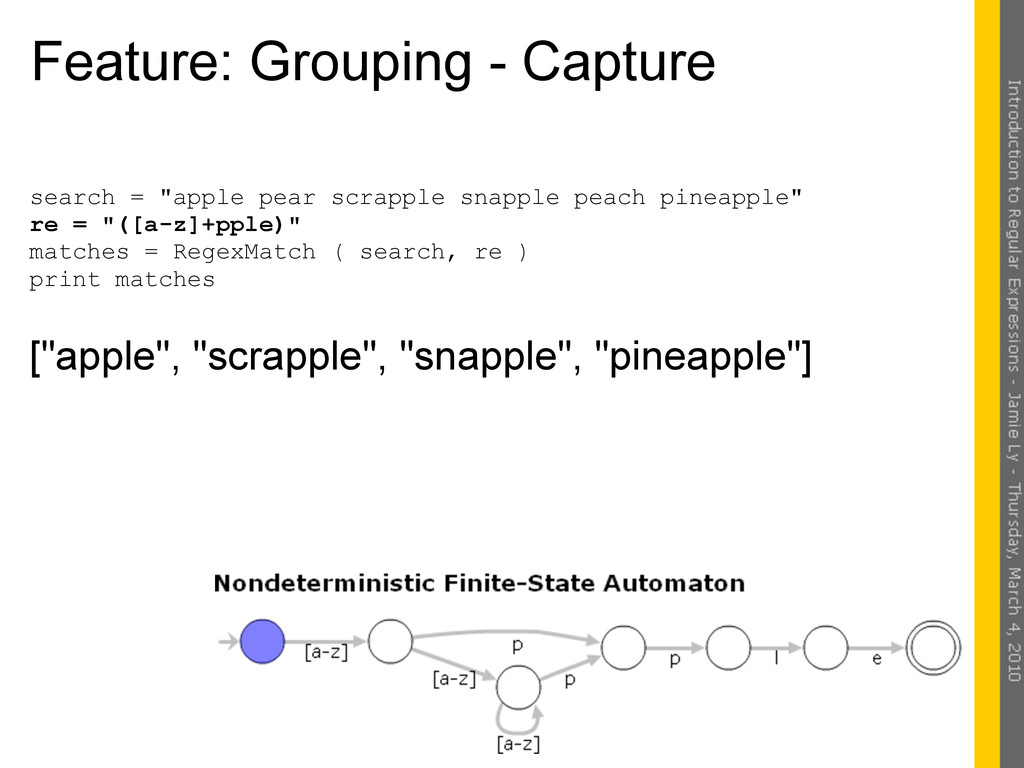 "Feature: Grouping - Capture search = ""apple pea..."