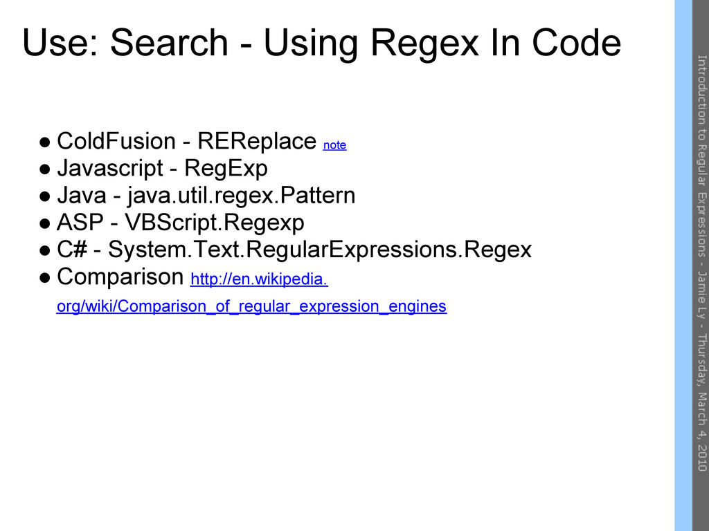 Use: Search - Using Regex In Code ● ColdFusion ...