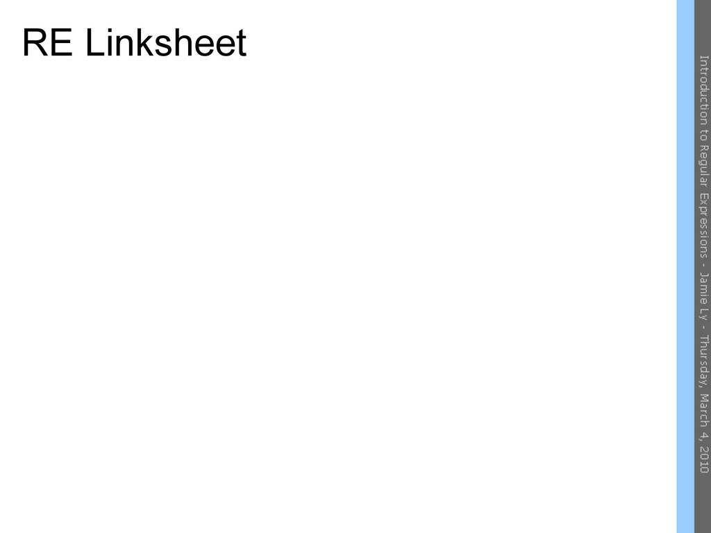 RE Linksheet