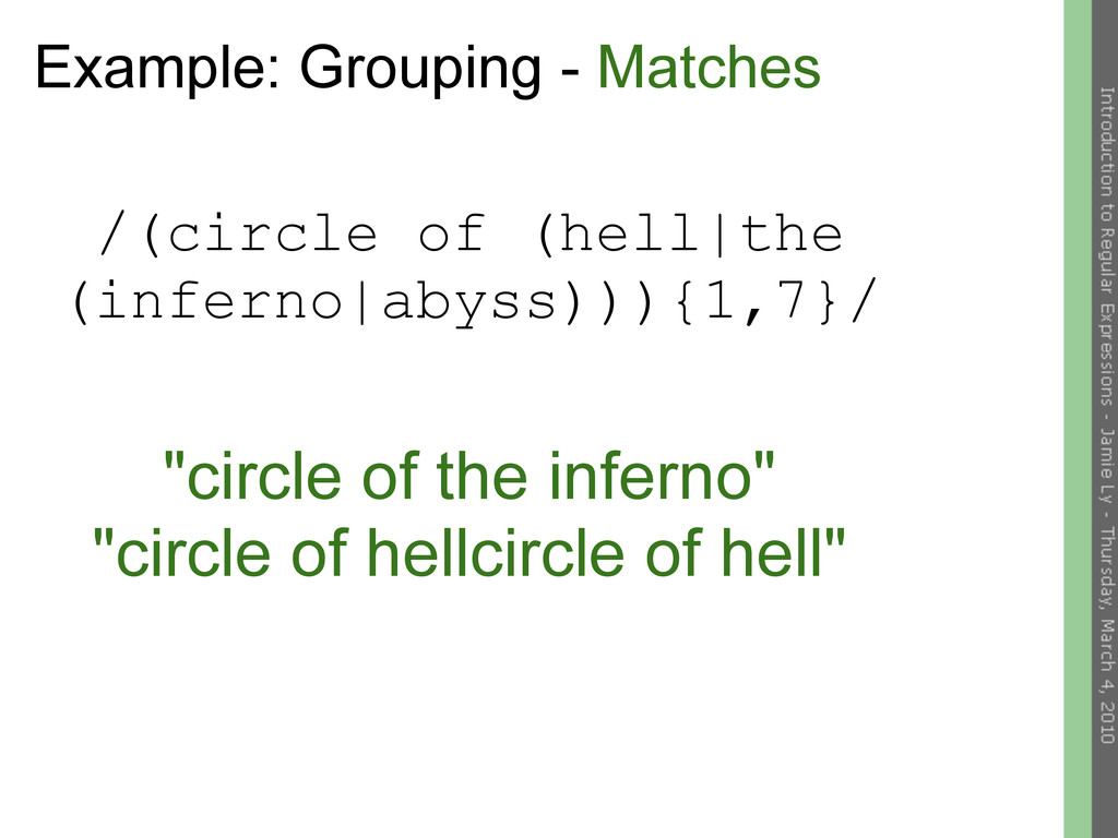 Example: Grouping - Matches /(circle of (hell|t...
