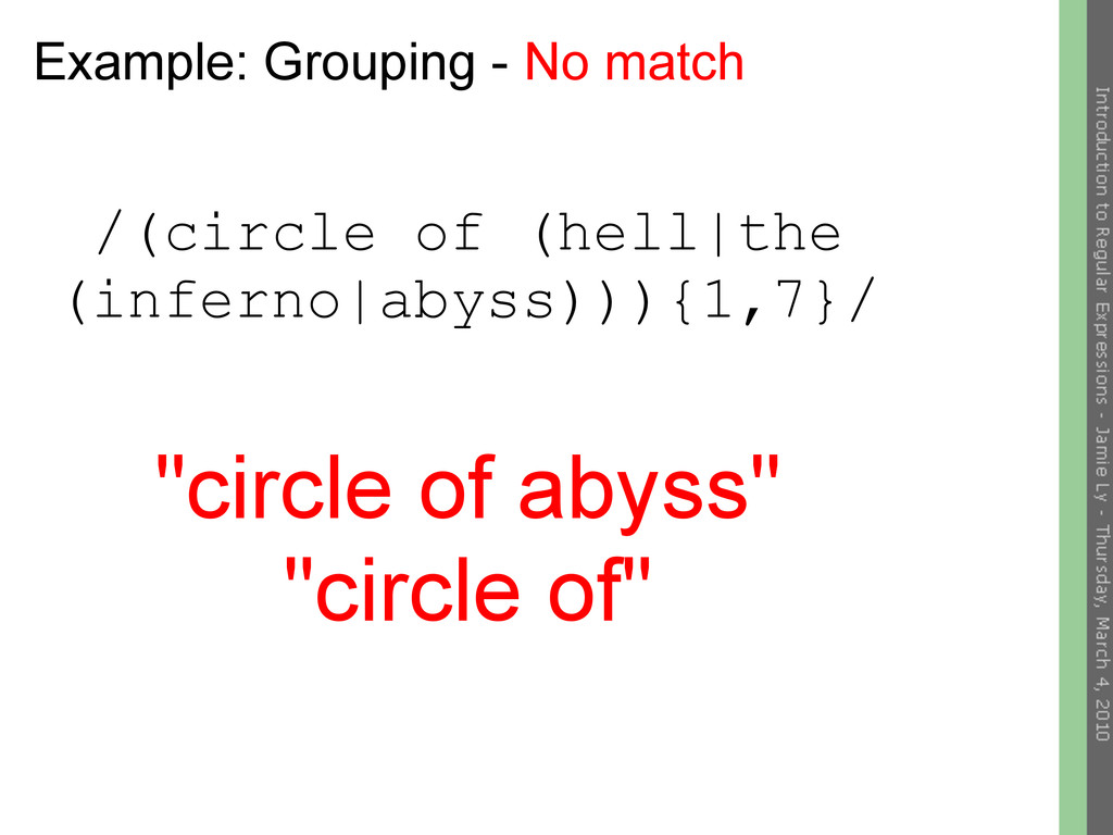 Example: Grouping - No match /(circle of (hell|...