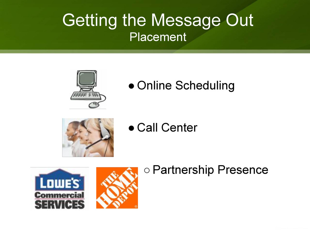 Getting the Message Out Placement ● Online Sche...