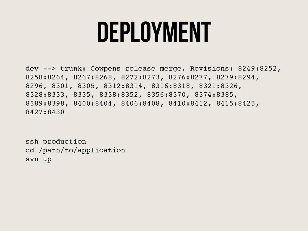 Deployment dev --> trunk: Cowpens release merge...