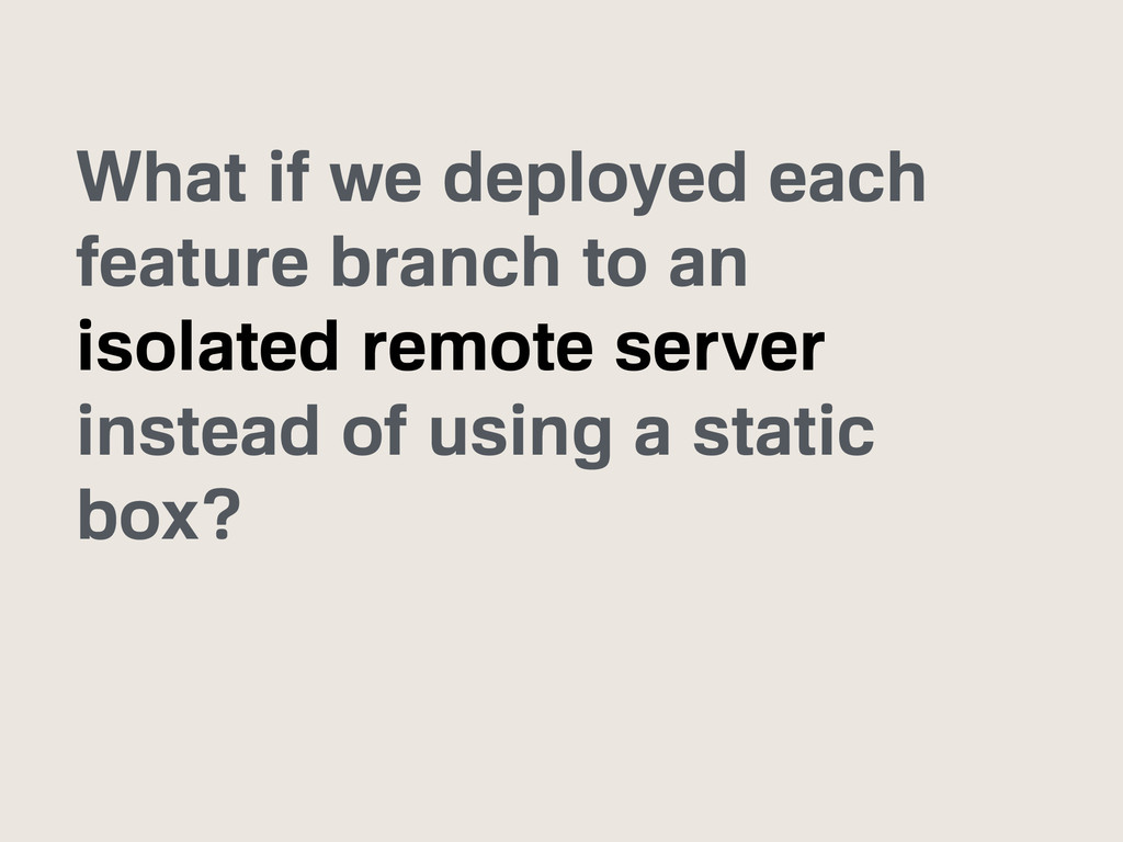 What if we deployed each feature branch to an i...