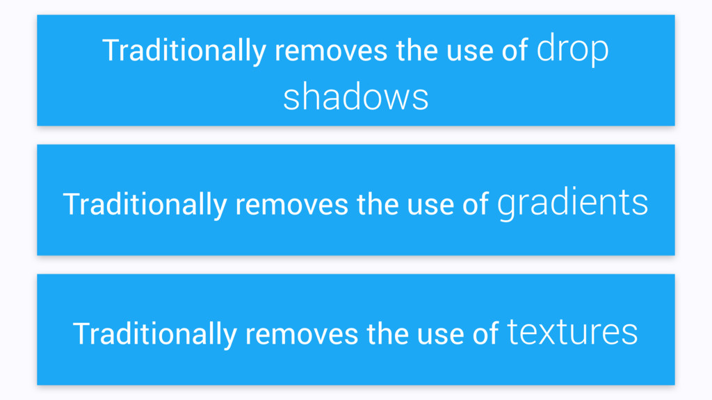 Traditionally removes the use of drop shadows T...