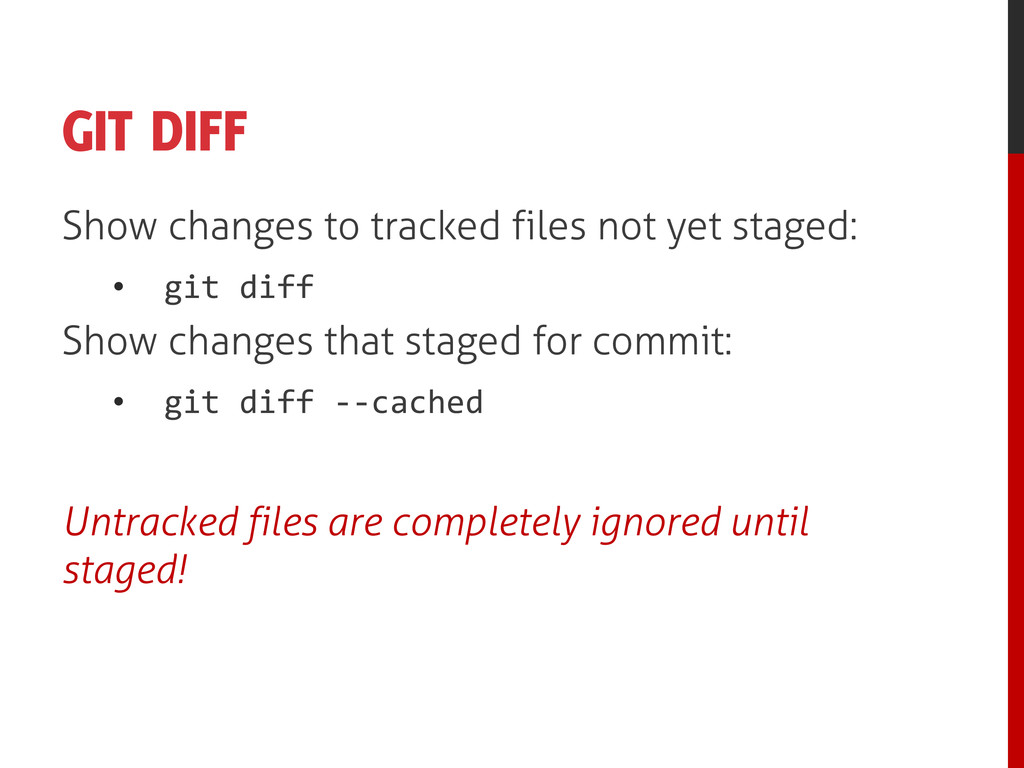 GIT DIFF Show changes to tracked files not yet ...