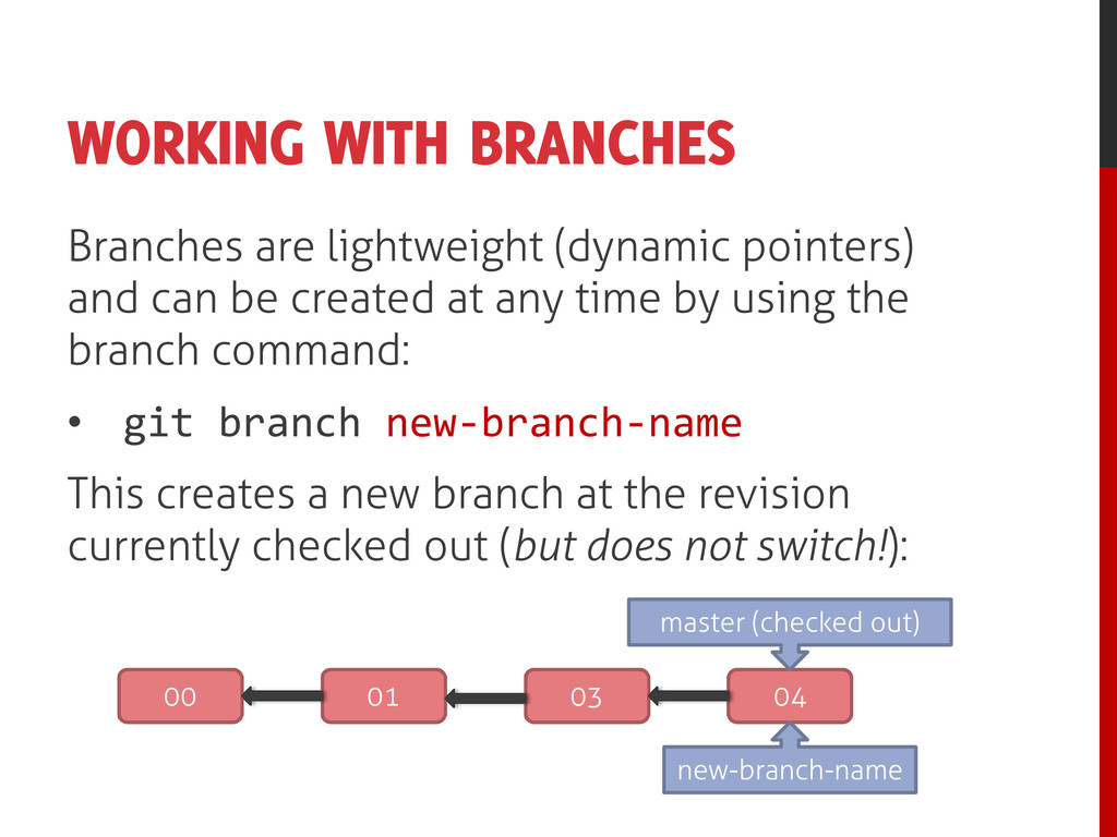 WORKING WITH BRANCHES Branches are lightweight ...