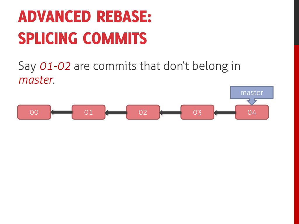 ADVANCED REBASE: SPLICING COMMITS Say 01-02 are...