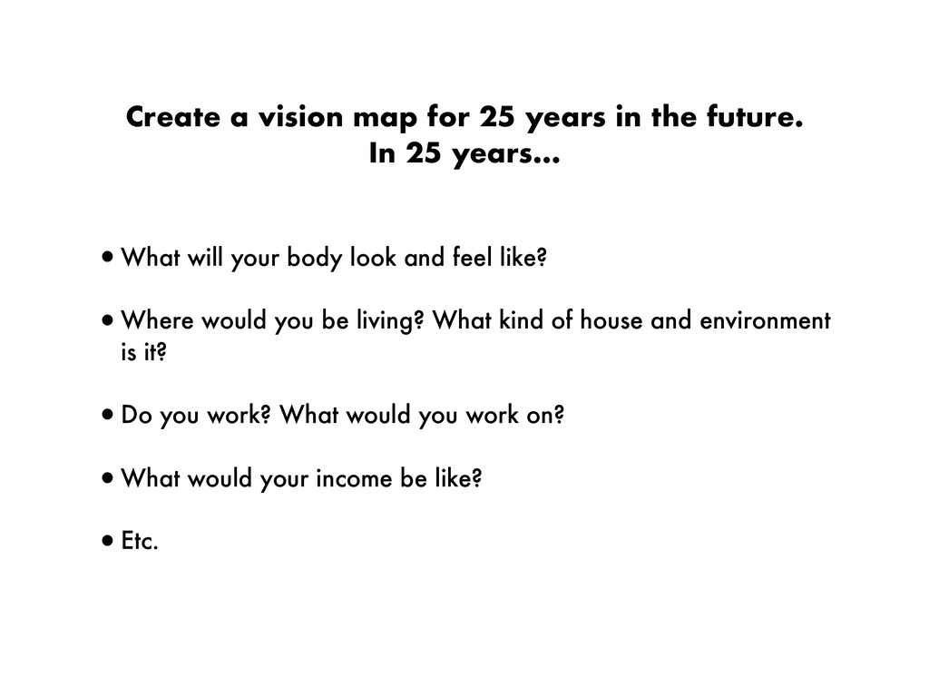 Create a vision map for 25 years in the future....