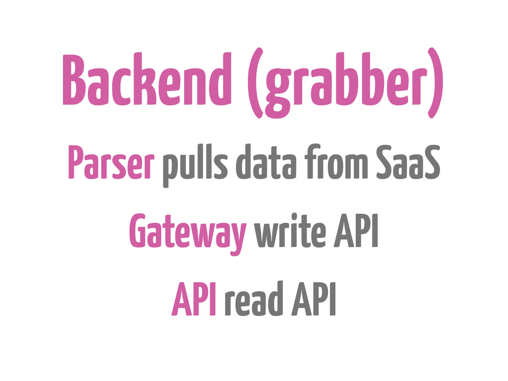 Backend (grabber) Parser pulls data from SaaS G...