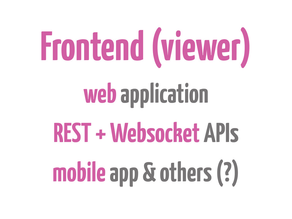 Frontend (viewer) web application REST + Websoc...