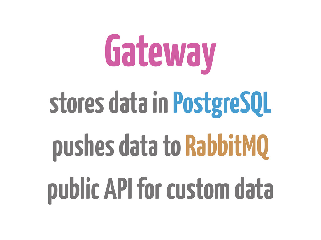 Gateway stores data in PostgreSQL pushes data t...