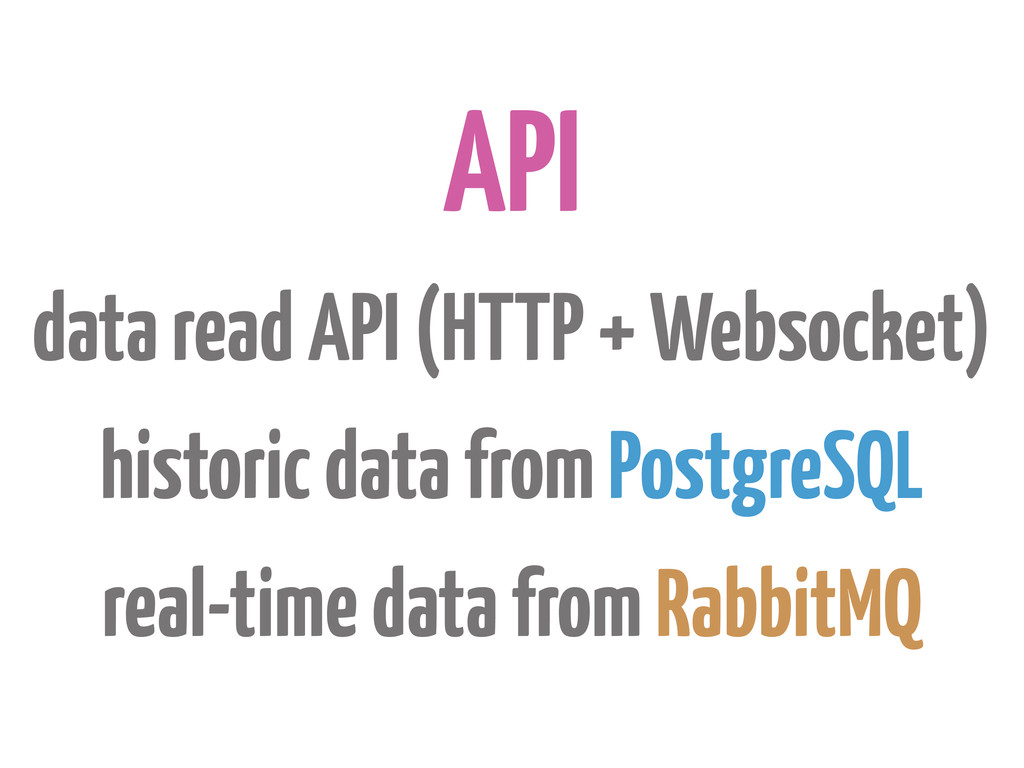 API data read API (HTTP + Websocket) historic d...