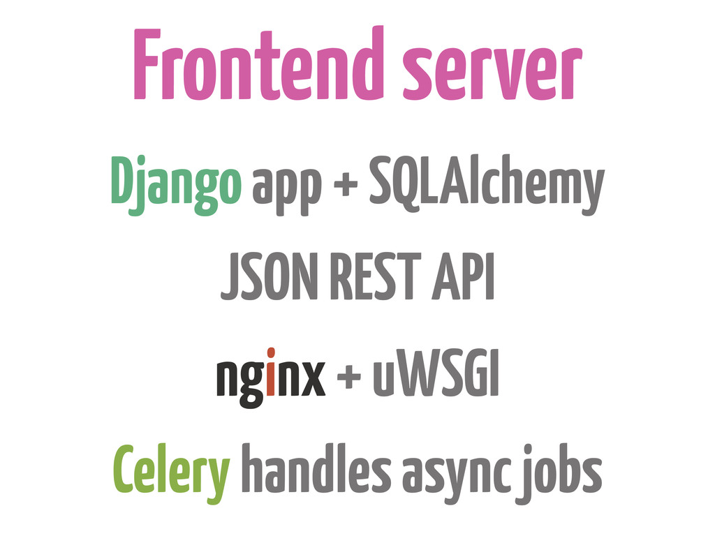 Frontend server Django app + SQLAlchemy JSON RE...