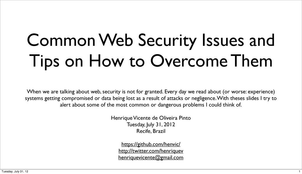 Common Web Security Issues and Tips on How to O...