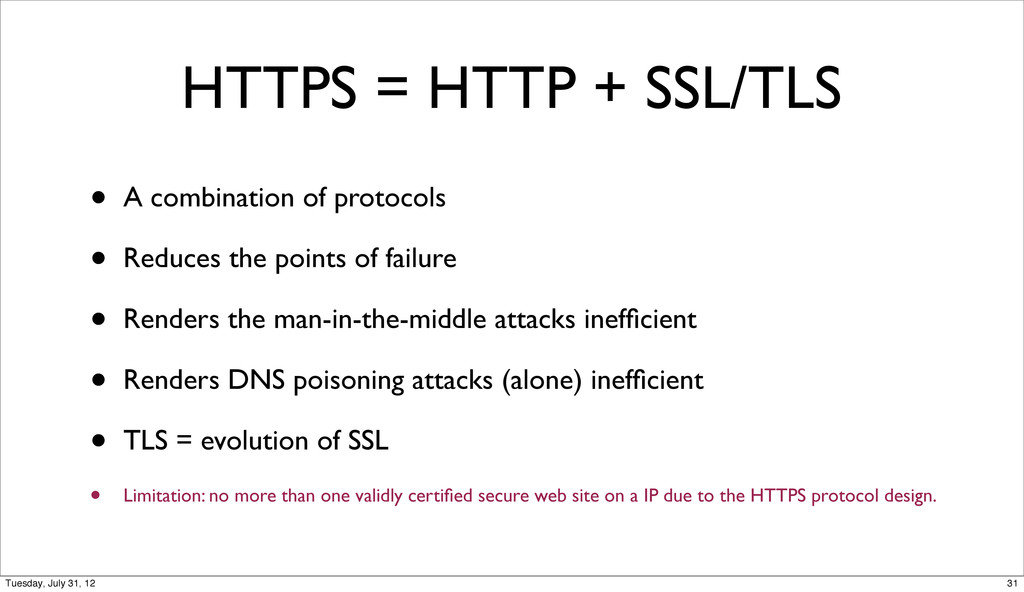 HTTPS = HTTP + SSL/TLS • A combination of proto...