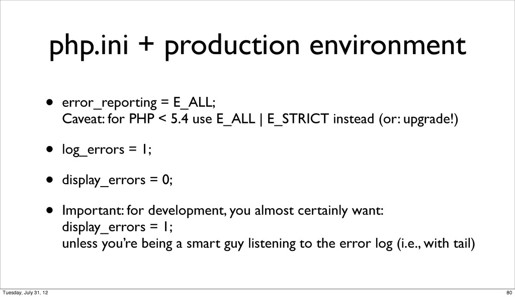php.ini + production environment • error_report...