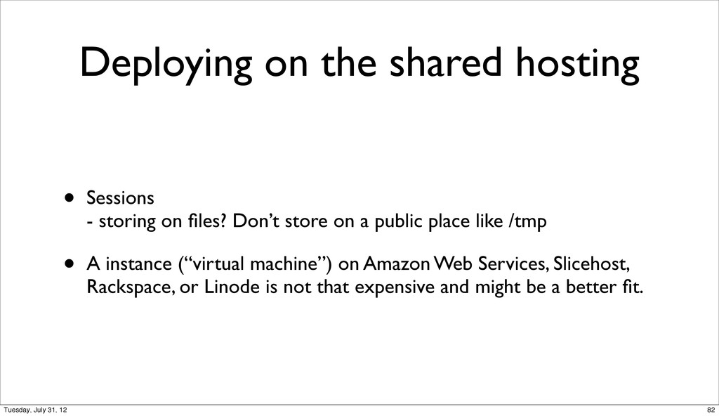 Deploying on the shared hosting • Sessions - st...